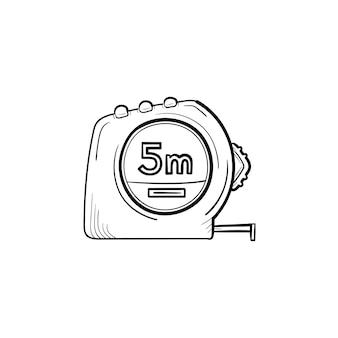 Icona di doodle di contorno disegnato a mano di misura di nastro. illustrazione di schizzo di vettore con attrezzature per l'edilizia - metro a nastro per stampa, web, mobile e infografica isolato su priorità bassa bianca.