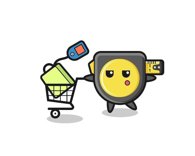 Fumetto dell'illustrazione del metro a nastro con un carrello della spesa, design carino