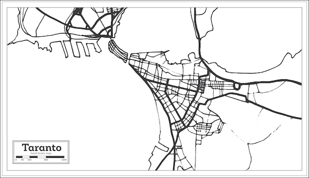 Mappa della città di taranto italia in stile retrò. mappa di contorno. illustrazione di vettore.