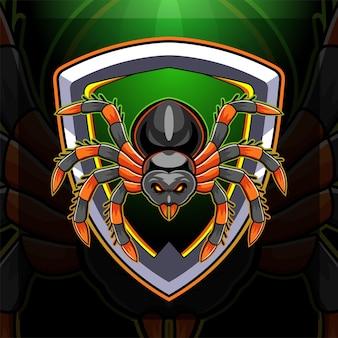 Disegno del logo della mascotte esport della tarantola