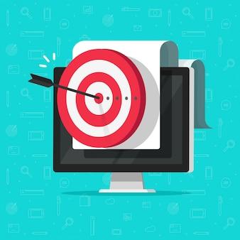 Obiettivo raggiungimento sul display del computer o obiettivo aziendale di successo o fumetto piatto obiettivo