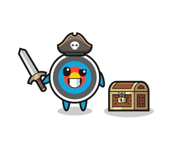 Il personaggio pirata bersaglio di tiro con l'arco che tiene la spada accanto a una scatola del tesoro, design in stile carino per maglietta, adesivo, elemento logo