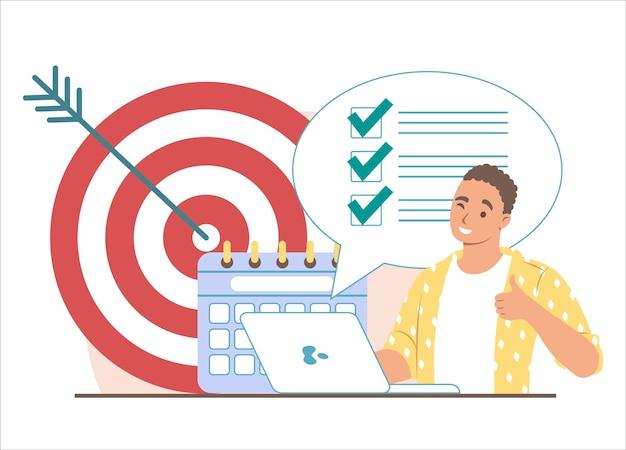 Obiettivo, calendario, lista delle cose da fare con segni di spunta e uomo d'affari che mostra il segno giusto della mano, illustrazione vettoriale piatta. gestione del tempo, pianificazione, programmazione.