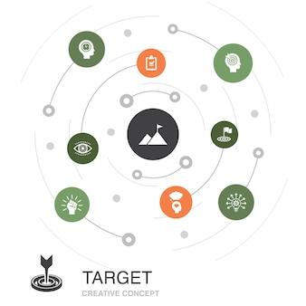 Concetto di cerchio colorato di destinazione con icone semplici. contiene elementi come grande idea, compito, obiettivo, pazienza