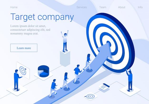 Pagina di atterraggio di promozione 3d di affari della società di obiettivo
