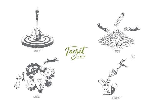 Illustrazione di schizzo di concetto di sviluppo di destinazione