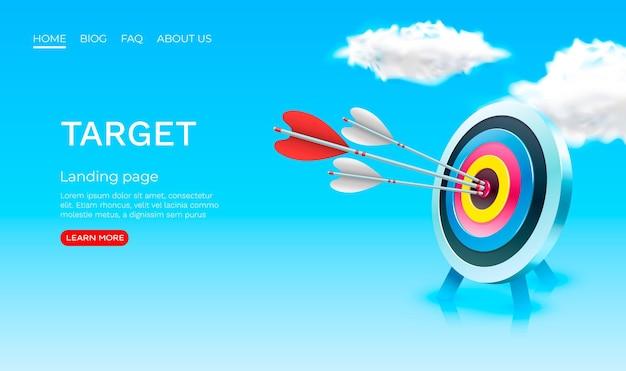 Target finanza pagina di destinazione banner business d icona vettore
