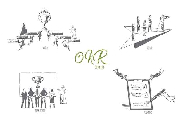 Target focus lavoro di squadra pianificazione concept sketch