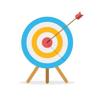 Obiettivo nella vista frontale con una freccia che colpisce il centro. sfida aziendale e concetto di raggiungimento degli obiettivi isolato su priorità bassa bianca. percorso di volo.