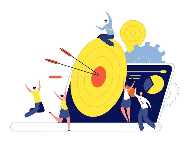 Obiettivo obiettivo. marketing aziendale, avanzamento dell'azione di successo nel lavoro di squadra. frecce di mira, leadership creativa o concetto di vettore di precisione dei dipendenti. cooperazione di lavoro di squadra, illustrazione del raggiungimento dell'obiettivo