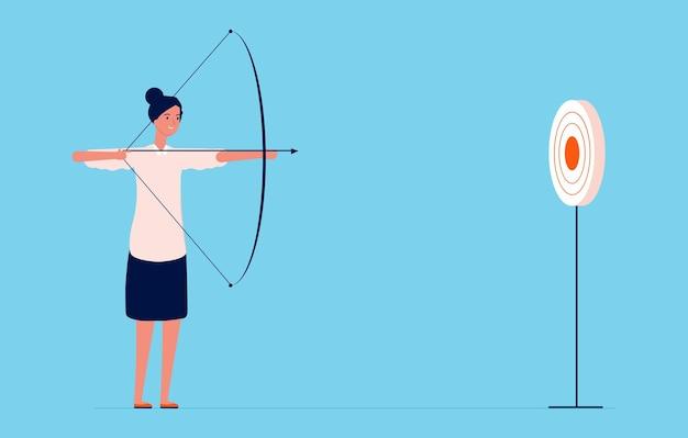 Obiettivo obiettivo. donna d'affari che spara con arco e frecce, signora di successo. carattere di vettore di ragazza investitore o project manager. freccia e bersaglio, illustrazione di successo della signora