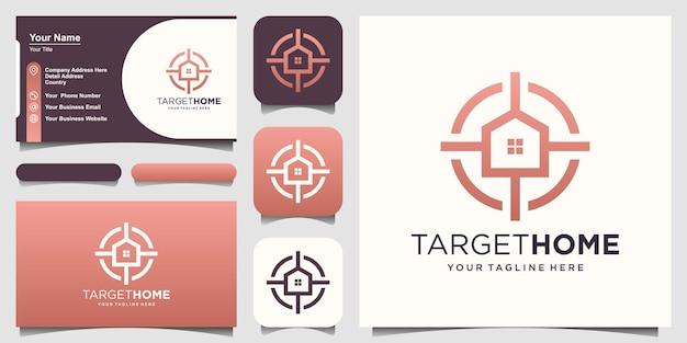 Target home logo disegni modello. casa combinata con segno di destinazione.