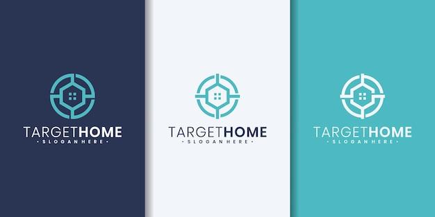 Modello di design del logo per la casa di destinazione. casa combinata con il segno di destinazione