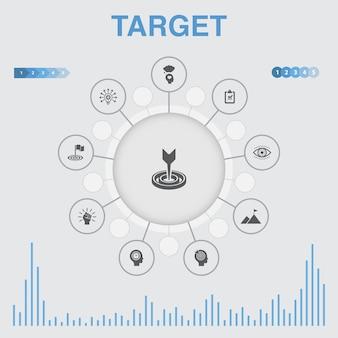 Infografica di destinazione con icone. contiene icone come grande idea, compito, obiettivo, pazienza