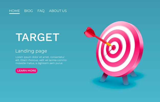Target landing page banner business d icona vettore