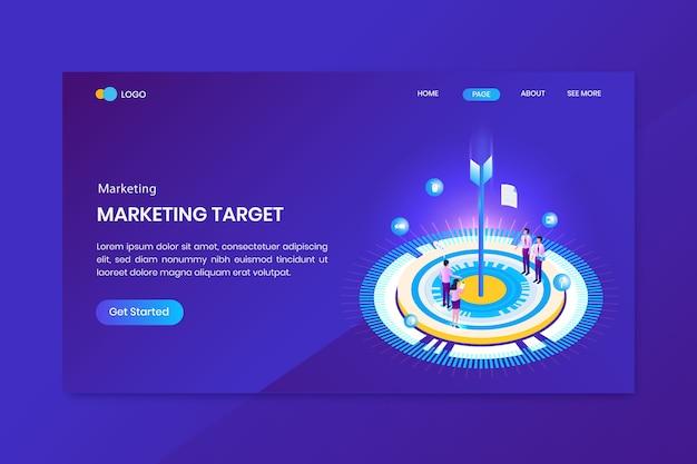 Pagina di destinazione del concetto isometrico di obiettivi di mercato di destinazione