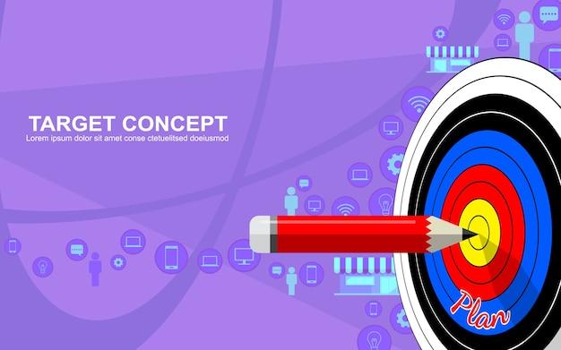 Target design modello di strategia di business marketing. freccette a bersaglio, matita e icona sullo sfondo