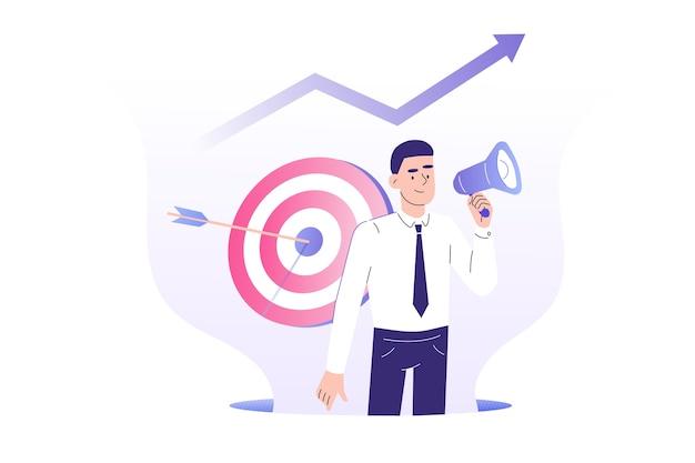 Obiettivo concetto di marketing con pr manager uomo che attira i clienti con il megafono