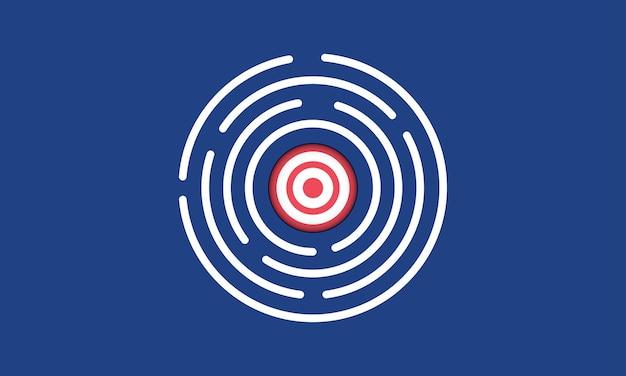 Obiettivo nel labirinto gestione dell'obiettivo strategia concetto ispirazione business