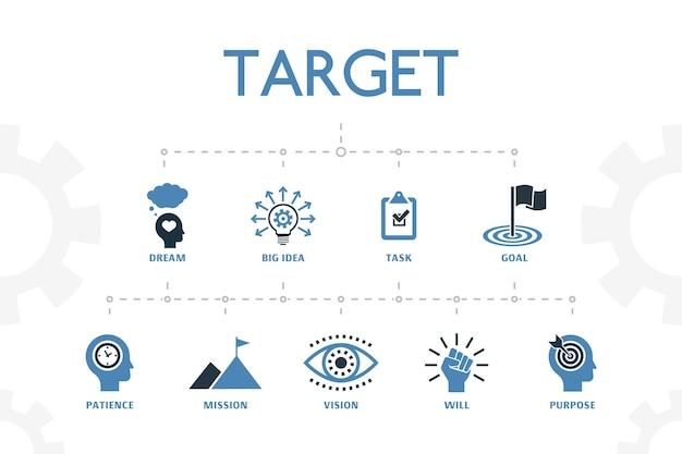 Modello di concetto moderno di destinazione con semplici 2 icone colorate. contiene icone come grande idea, compito, obiettivo, pazienza e altro