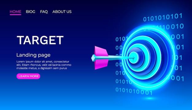 Modello di pagina di destinazione neon target target