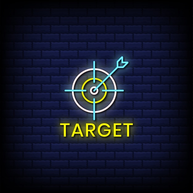 Target di testo in stile insegne al neon