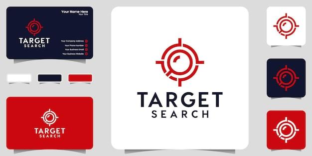 Ispirazione del logo di ricerca target, lente di ingrandimento e modello di messa a fuoco target e design del biglietto da visita
