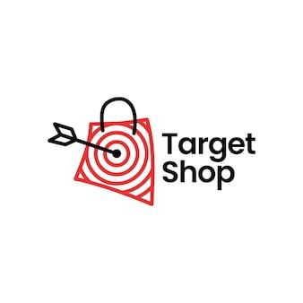 Illustrazione dell'icona di vettore del logo della freccia del sacchetto della spesa del mercato del negozio di destinazione