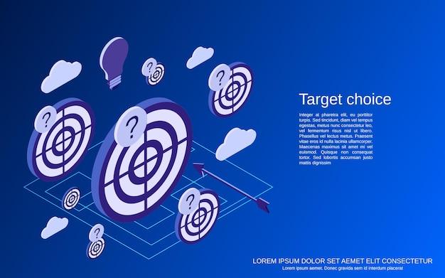 Obiettivo, strategia, concetto isometrico piatto di scelta della soluzione