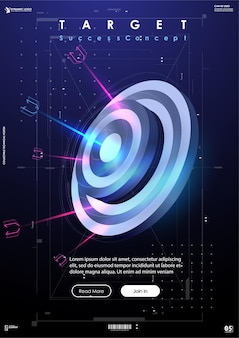 Target banner di successo in stile futuristico