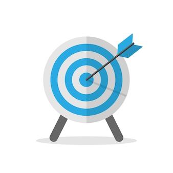 Simbolo dell'obiettivo nell'illustrazione piana di vettore di colore blu. eps 10