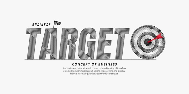 Testo di destinazione sfondo design obiettivo aziendale lettering concetto di tipografia citazione di motivazione aziendale