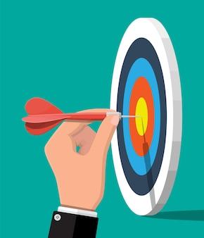 Bersaglio con freccia al centro. impostazione degli obiettivi. obiettivo intelligente. concetto di obiettivo aziendale. realizzazione e successo. illustrazione vettoriale in stile piatto