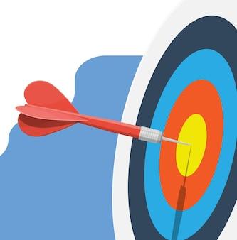 Bersaglio con freccia al centro. impostazione degli obiettivi.