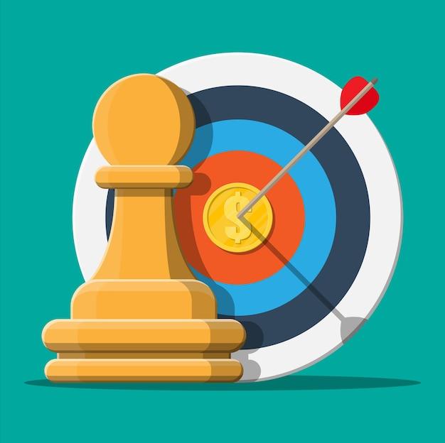Bersaglio con freccia e moneta d'oro, pedina degli scacchi. definizione degli obiettivi. obiettivo intelligente. concetto di destinazione aziendale. realizzazione e successo.