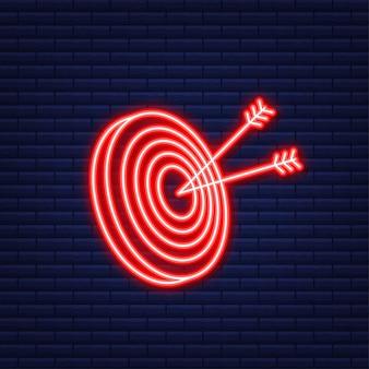 Obiettivo con un obiettivo del mercato di concetto dell'icona della freccia icona al neon. illustrazione vettoriale.