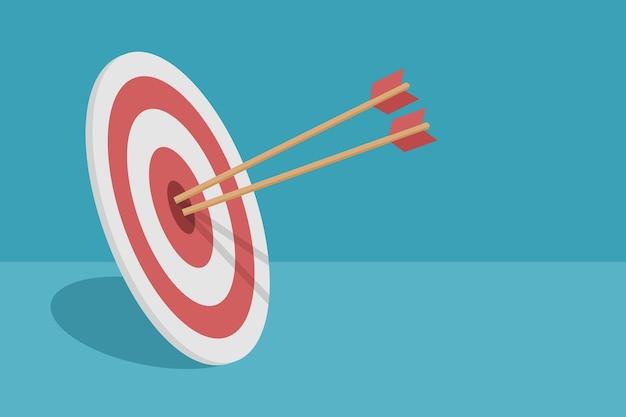 Obiettivo con design piatto frecce
