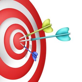 Obiettivo con riduzione 3d del dardo dell'immagine vettoriale dell'obiettivo