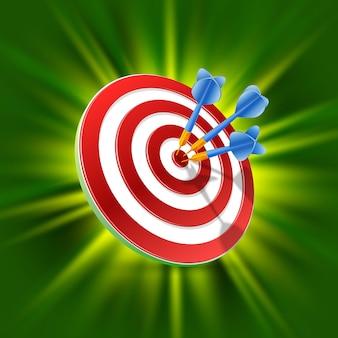 Bersaglio con freccette 3d art su sfondo verde. illustrazione vettoriale Vettore Premium