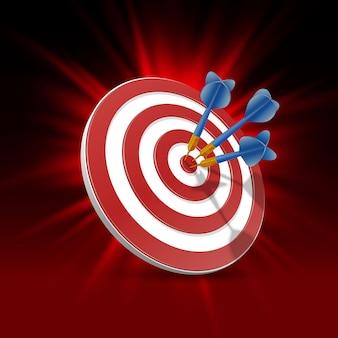 Obiettivo con le freccette, fondo dell'obiettivo 3d. illustrazione vettoriale