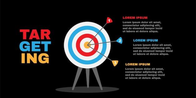 Obiettivo con illustrazione di affari in tre fasi