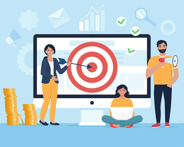 Concetto di targeting. gente di affari che guida la freccia verso l'obiettivo. squadra di professionisti che colpisce l'obiettivo. illustrazione in stile piatto