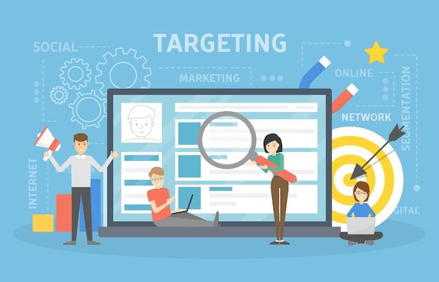 Illustrazione del concetto di targeting. idea di trovare pubblico.