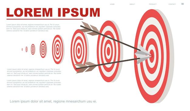 Obiettivi e due frecce nel cerchio centrale illustrazione vettoriale banner orizzontale pagina del sito web design