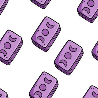 Modello di bordo senza giunte di carte dei tarocchi. graziosi mazzi di tarocchi scarabocchiano la carta da parati. piastrella di sfondo ripetibile vettoriale. modello di artigianato accogliente di illustrazione di riserva per il design del confezionamento