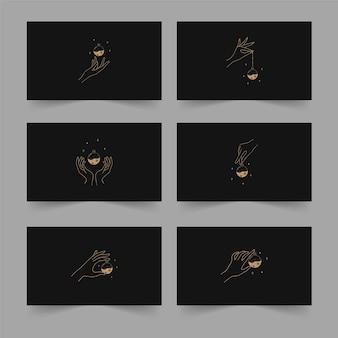 Illustrazione vettoriale di tarocchi in stile boho con mani lineari, pozioni mistiche e stelle. concetto di stregoneria per i lettori di tarocchi.