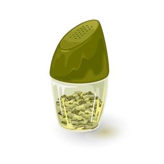 La spezia al dragoncello è in un contenitore di pepe in vetro, stagno, barattolo con coperchio in plastica verde. foglie aromatiche di alloro o alloro, aneto, prezzemolo, coriandolo sono in uno shaker trasparente, contenitore. cartone animato su bianco.