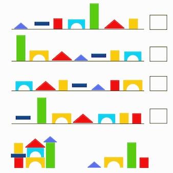 Un compito per lo sviluppo della logica per i bambini. un puzzle con dettagli colorati. vettore