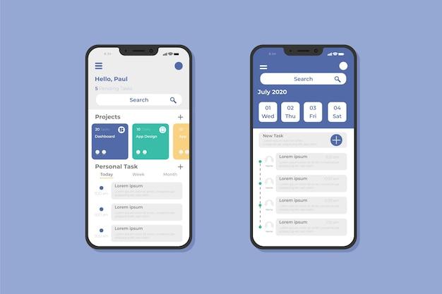 Modello di app per smartphone per la gestione delle attività