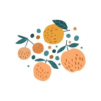 Mela gustosa, bacche di ciliegia e foglie su sfondo bianco. stampa di frutta disegnata a mano